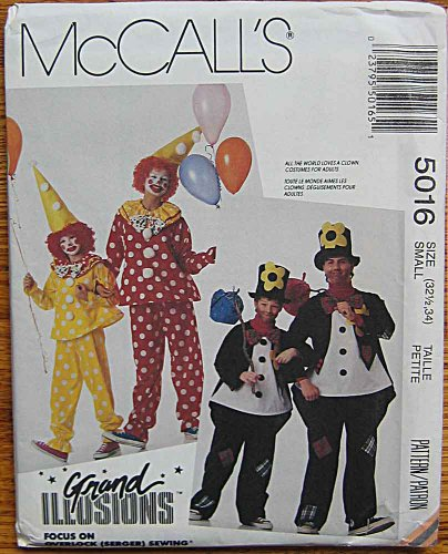McCall's 5016 Sewing Pattern ~ Grand Illusions Adult Halloween Costumes, Clown & Hobo, Size Small (32 1/2, (Halloween Illusion Costumes)