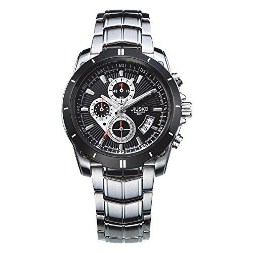 Jiusko JSP9LSB02 Men's Multifunction Quartz Tachymeter Chronograph Stainless Steel Sports Dress Watch, Silver, Black by JIUSKO