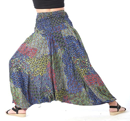 CandyHusky Women Gypsy Hippie Boho Baggy Loose fit Elastic Jumpsuit Harem Pants (Peacock Tail Blue) by CandyHusky (Image #3)