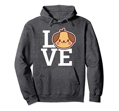 Unisex LOVE Adorable Puppy Hoodie | Animal Lover Hood Medium Dark Heather (Love Puppy Mens Hoodie)
