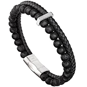 murtoo Mens Bead Leather Bracelet, Natural Bead, Steel and Leather Bracelet for Men