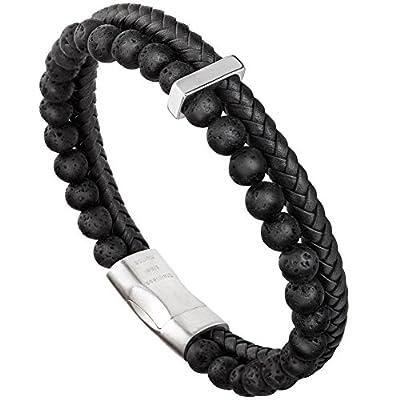 - 51V5n84VcCL - murtoo Mens Bead Leather Bracelet, Blue and Brown Bead and Leather Bracelet for Men
