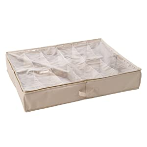 12. StorageManiac Durable 12-Pair Underbed Shoe Organizer