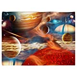 SXCHEN Table Cover Waterproof Linen Washable Polyester Tablecloths Interstellar Galaxy Universe Planet 51 x 66 Inch