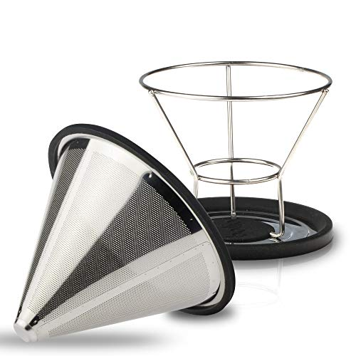 Bolio Stainless Steel Coffee Filter - No 2 Size - Fits Chemex, Bodum and most 10 Cup Coffee Makers (v60)