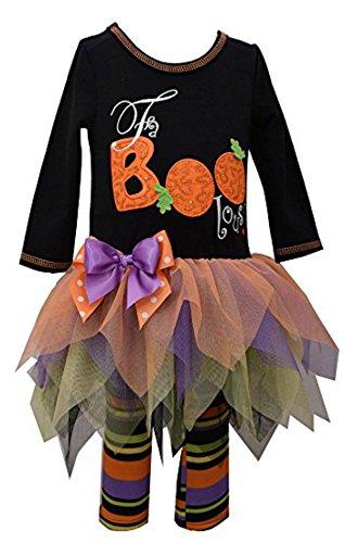 Bonnie Jean Little Girls' Two Piece Halloween Appliqued Dress and Legging Set, Black (6-9 -