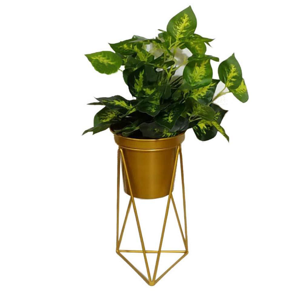 nouler Iron Flower Stand Flower Pot Single Layer Gold Living Room Indoor Home Floor Type,Gold,L