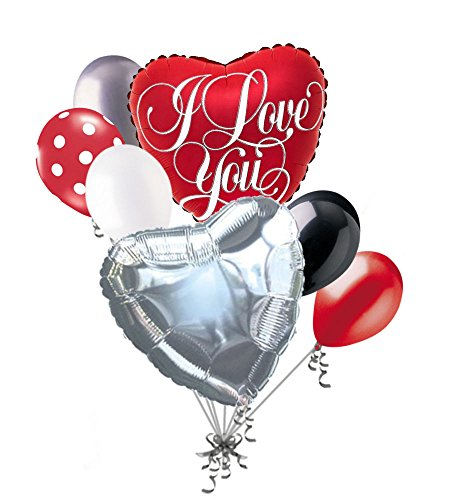 7 pc Classic I Love You Script Heart Valentines Day Balloon Bouquet Be Mine Red Sweetest Day Balloon Bouquet