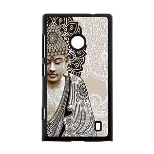 Serene Magnificent Buddha Face Half Henna Lotus Mandala Custom Case Cover of Nokia Lumia 520
