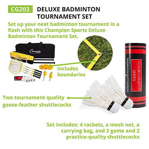 Champion Sports Outdoor Badminton Set: Net, Poles, 4 Rackets, 4 Shuttlecocks & Bag - Portable Equipment for Backyard Games, Team Sports, Adults & Kids by Champion Sports (Image #6)
