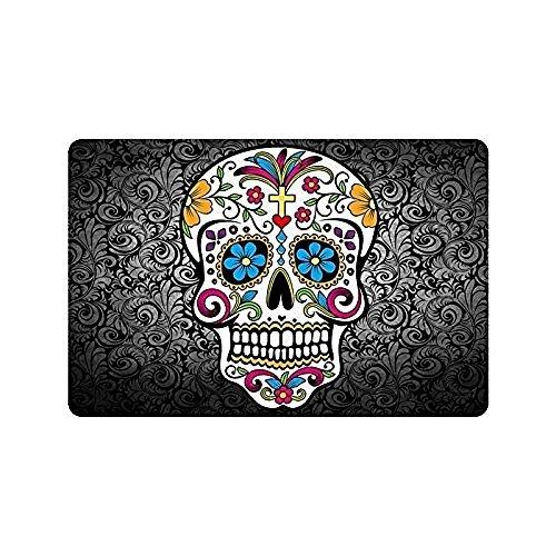 Sugar Skull And Flower Background Doormat, Indoor/Front Door/Bathroom Mats, Short Plush Entrance Mat Rug Non Slip Rubber (23.5x15.7 Inch) for $<!--$13.00-->