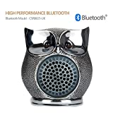 LENMO Owl Bluetooth Speaker Ultra Portable Wired Bluetooth Speaker 4.0, 8W Superior Bass Hand-made Polymer Resin in Retro Style for Desktop PC/Laptop Notebook/Mobile Phone/MP3/MP4 Player (Silver)