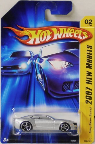 Hot Wheels 2007 New Models #2 Chevy Camaro Concept Silver Chrome Base #2007-2 Collectible Collector Car Mattel 1:64 Scale Collectible Die Cast Car