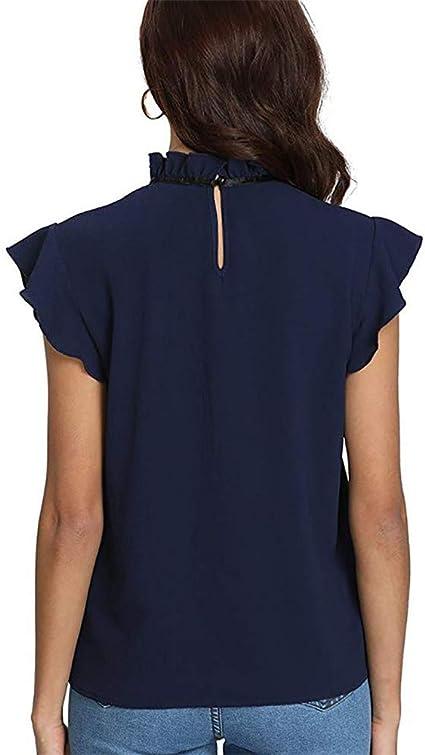 Camisa Mujer Casual Cap Manga Corbata de Lazo Camisa Blusa de Gasa ...