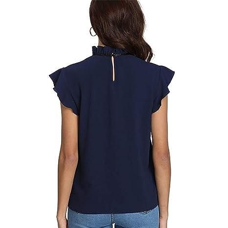 Camisa Mujer Casual Cap Manga Corbata de Lazo Camisa Blusa ...