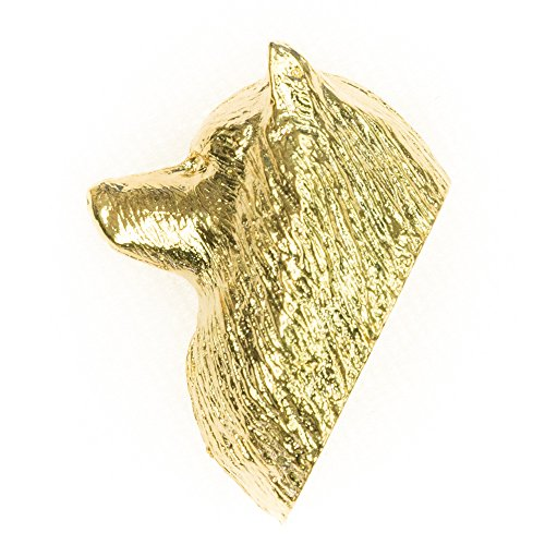 KEESHOND HEAD Made in U.K Artistic Style Dog Clutch Lapel Pin Collection 22ct Gold Plated