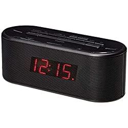 AmazonBasics FM Dual Alarm Clock Radio with USB Charging Port, Bluetooth and Battery Backup