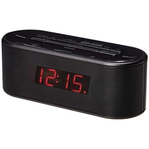 AmazonBasics Alarm Clock with FM Radio, USB Charging Port and Bluetooth