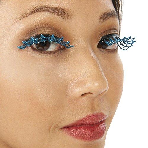 [Blue Spiderweb Eyelashes] (Spider Web Eye Makeup)