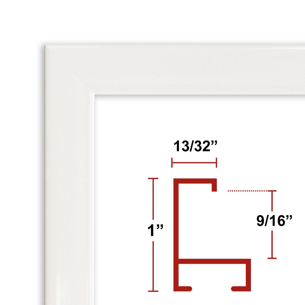 32 x 40 White Poster Frame - Profile: #93 Custom Size Picture Frame