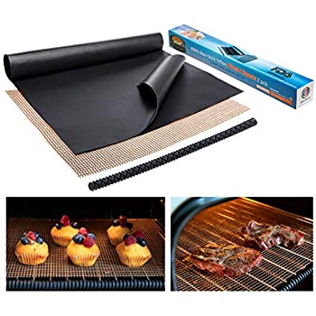 Large Non-Stick Oven Liners for Bottom - 2 Teflon Oven Liner for Electric, Gas, Toaster, and Microwave Ovens + FREE Grill Mesh Oven Mat + Oven Rack Guard - Certified BPA and PFOA Free Mat