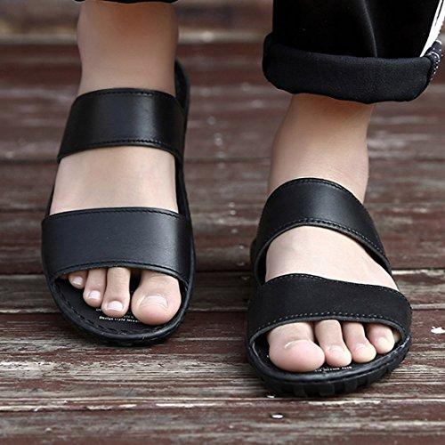 Zhaoke Mens PU Leather Slip-on Sandals Beach Summer Walking Shoes Black J6Y50Q1k