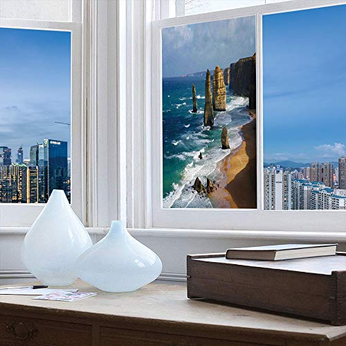 YOLIYANA Stained Glass Window Film,Coastal Decor,for Bathroom Shower Door Heat Cotrol Anti UV,12 Apostles in Australia Rock Face Lookout by,24''x48''
