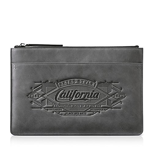 Embrague De gris Para Billetera Cuero De Hombre Billetera california vertical Normal EF0wdXqzx