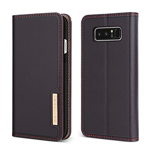 BENTOBEN Note8 case, Galaxy Note 8 Wallet Case, Genuine Leather Slim Flip Cover with Kickstand 3 Credit Card Holder Cash Slots Protective Wallet Phone Cases for Samsung Galaxy Note 8, Business Brown