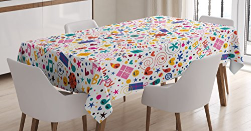 Ambesonne Birthday Decorations Tablecloth, Dotted Spirals Stars Hearts Musical Notes Gift Boxes Pattern Smiling, Dining Room Kitchen Rectangular Table Cover, 52 W X 70 L inches, Multicolor -