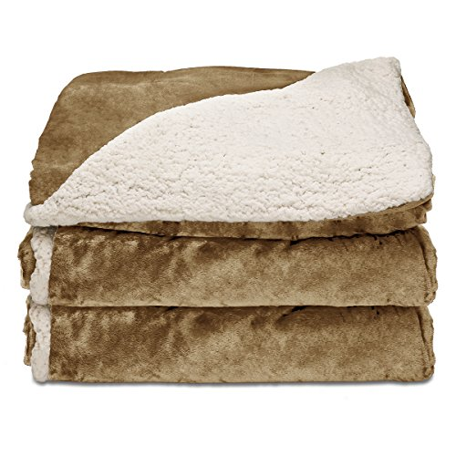 Sunbeam Twin Electric Blanket - Sunbeam Reversible Sherpa/RoyalMink Heated Throw Blanket with EliteStyle II Controller, Honey,