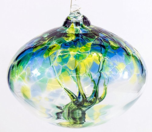 Milford Collection Orb Tree Of Life Small Glass Globe - Sea - Hanging Globe Collection