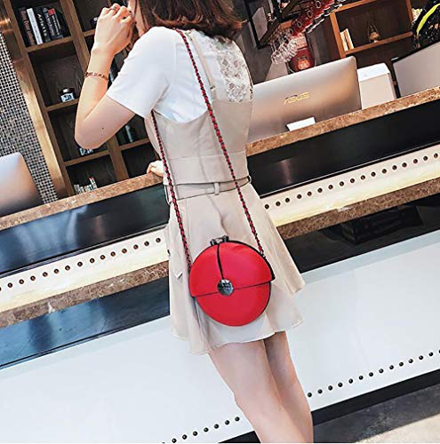 Womenpu Leather Shoulder Round Bag Splicing Mini Red Crossbody Chain Handbag Qiulv Shoulder Tote vdIxXAXqw