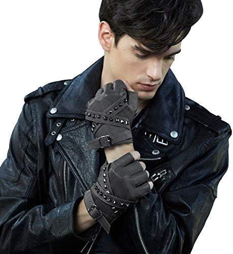 guanti da moto con cerniera laterale e rivetti da uomo Fioretto Guanti da uomo senza dita in pelle sfoderati a met/à dita