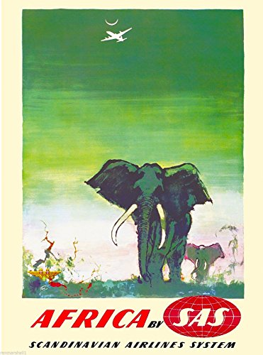 A SLICE IN TIME Africa By SAS Elephant Vintage African Airline Travel Advertisement Collectible Wall Decor Poster Print. Measures 10 x 13.5 inches