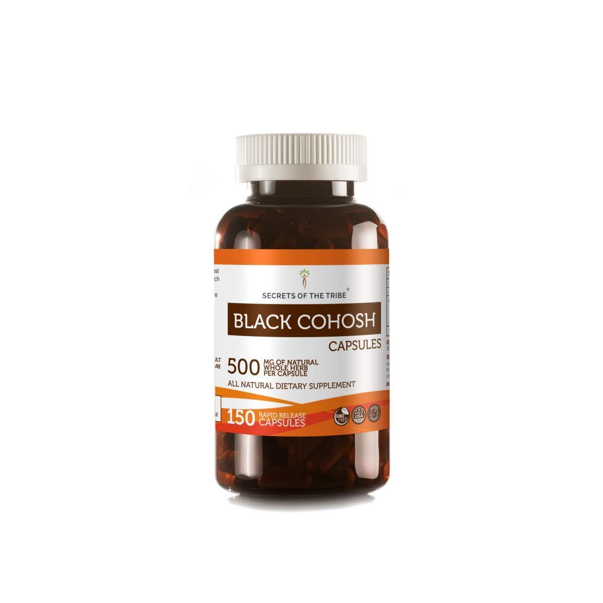 Black Cohosh 150 Capsules, 500 mg, Organic Black Cohosh (Cimicifuga Racemosa) Dried Root (150 Capsules)