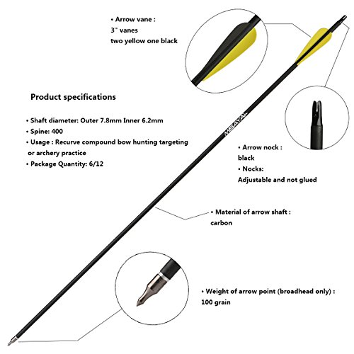 Misayar-30-Inch-Carbon-Arrow-Fletched-3-Inch-Vane-with-Field-Points-for-Recurve-Compound-Bow-Targeting-or-Hunting-Pack-of-12