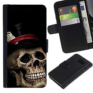 Samsung Galaxy S6 / SM-G920 , la tarjeta de Crédito Slots PU Funda de cuero Monedero caso cubierta de piel ( Top Hat Poker Cards Halloween Metal Music)