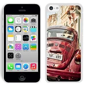NEW Unique Custom Designed iPhone 5C Phone Case With Vintage Volkswagen Beetle_White Phone Case