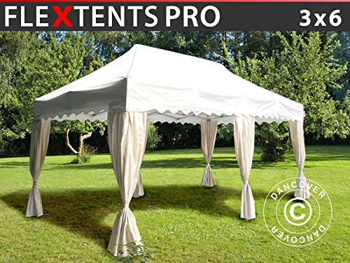 Carpa Plegable Carpa Rapida FleXtents Pro Wave 3x6m Blanco, Incl. 6 Cortinas Decorativas: Amazon.es: Jardín