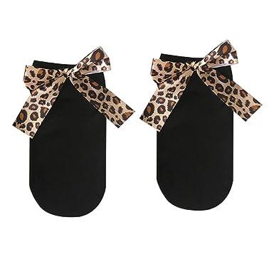 Oce180anYLV Leopard Bow calcetines invisibles de algodón ...