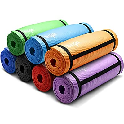 Yes4All 1/2 Inch Extra Thick Anti Slip High Density Exercise Yoga Mat with Carrying Strap