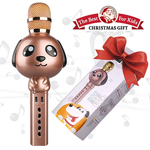 Microphone for Kids, Wireless Bluetooth Karaoke Microphone Portable Handheld karaoke Mic Home Party Christmas Birthday Speaker Machine for iPhone/Android/iPad/Sony,PC and All Smartphone (Brown)