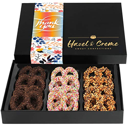 Hazel & Creme Chocolate Covered Pretzels – THANK YOU Chocolate Gift Box – Appreciation Gourmet Food Gift