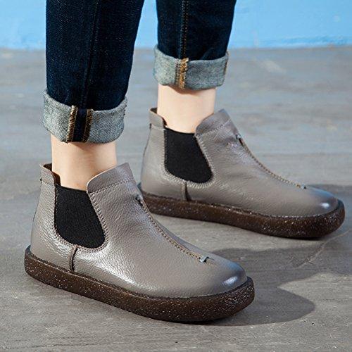 Mordenmiss Womens Western Chelsea Boots Leather Aangetrokken Met Elastisch Paneel Grijs