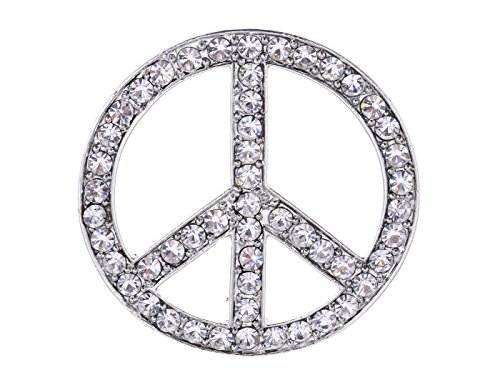 Alilang Womens Silvery Tone Shine Clear Crystal Rhinestones Hippie Peace Sign Brooch Pin Pendent
