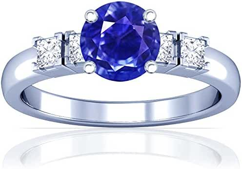 Platinum Round Cut Blue Sapphire Ring With Sidestones (GIA Certificate)