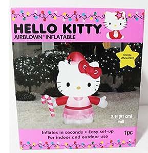 Hello Kitty Airblown Gemmy hinchable 3pie eficiente de la energía LED decoración de Navidad con bastón de caramelo y gorro de Papá Noel