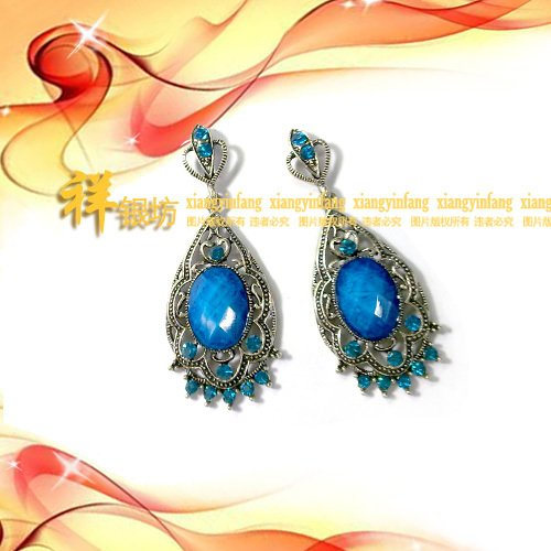 usongs classical black imitation Thai silver earrings earrings earrings
