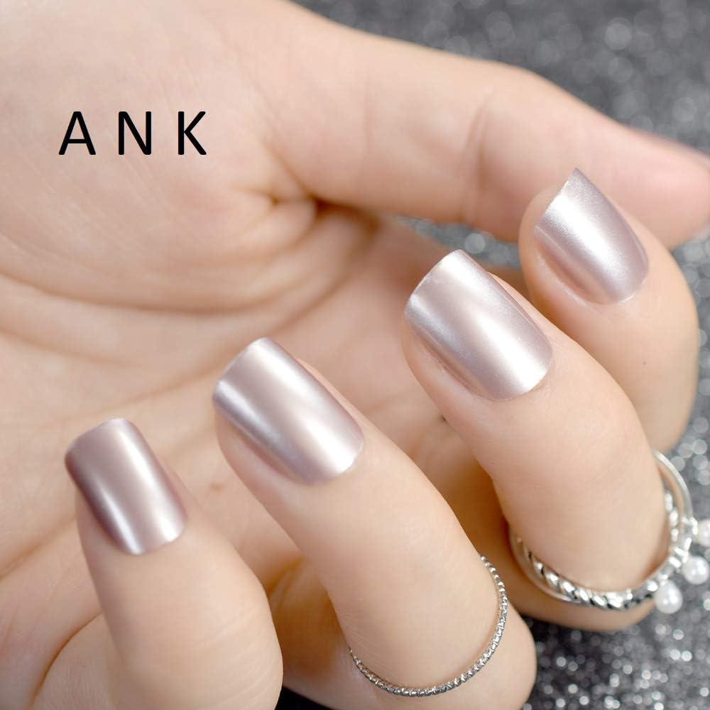 24 uñas postizas de color rosa natural con purpurina acrílica ...